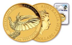 2018 Australia 100 Dollar 1-oz Gold Bird of Paradise NGC MS70 First Releases