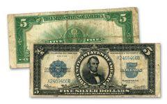 """1923 Lincoln """"Porthole"""" $5 Silver Certificate Fine"""