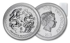 2018 Niue Roll of 20 $2 1 Ounce Silver Double Dragon Pearl of Wisdom Gem BU