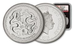 2018 Niue 1-Ounce $2 Silver Double Dragon Pearl of Wisdom NGC MS69 First Releases - Black Core, Dragon Label