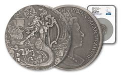2018 British 2 Ounce Silver Mythical Creatures Siren NGC High Relief PF69 with Antique Finish ER