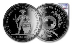 2000 Switzerland 50 Franc 25 Gram Shooting Festival Thaler – Biere Silver Proof NGC PF69UC Swiss Label