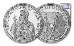 1995 Switzerland 50 Franc 25 Gram Shooting Festival Thaler – Thun Silver Proof NGC PF70UC Swiss Label