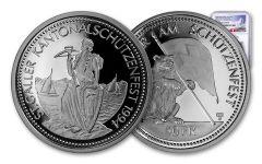 1994 Switzerland 50 Franc 25 Gram Shooting Festival Thaler – St. Gallen Silver Proof NGC PF70UC Swiss Label
