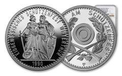 1990 Switzerland 50 Franc 25 Gram Shooting Festival Thaler – Winterthur Silver Proof NGC PF69UC