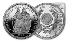 1990 Switzerland 50 Franc 25 Gram Shooting Festival Thaler – Winterthur Silver Proof NGC PF70UC