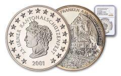 2001 Switzerland 50 Franc 25 Gram Shooting Festival Thaler – Uri Silver Proof NGC PF70UC