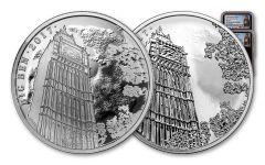 2017 Great Britain 2 Pound 1-oz Silver Landmarks of Britain - Big Ben NGC PF70 - Black