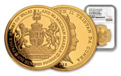 2018 Tristan da Cunha £100 1-oz Gold Prince Harry and Meghan Markel Royal Wedding Proof NGC PF69UC One of First Struck