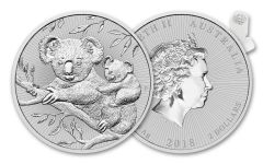 2018 Australia 2 Dollar 2-oz Silver Koala Piedfort Uncirculated 10pc Roll