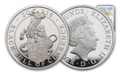 2018 Great Britain 2 Pound 1-oz Silver Queen's Beasts Black Bull NGC PF69UCAM