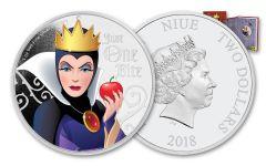 2018 Niue Disney Villains Evil Queen Colorized 1-oz Silver Proof