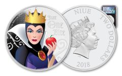 2018 Niue Disney Villains Evil Queen Colorized 1-oz Silver Proof NGC PF69UC FR Black Core Pacific Rim