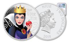 2018 Niue Disney Villains Evil Queen Colorized 1-oz Silver Proof NGC PF70UC FR Pacific Rim