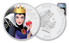 2018 Niue Disney Villains Evil Queen Colorized 1-oz Silver Proof NGC PF70UC FR Black Core Pacific Rim