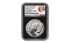 2018 $1 1-oz Silver Australia Dragon & Phoenix NGC PF70UC First Releases w/Black Display Core