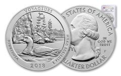 2018-P Voyageurs National Park 5-oz Silver America the Beautiful Specimen PCGS SP70 FS Flag Label Mercanti Signed