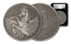 2018 BVI Pegasus 2-oz Antiqued Silver NGC MS70 FR Black Core