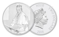 2018 Niue $2 1-Ounce Silver Star Wars Darth Maul Gem Proof