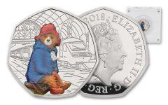 2018 Great Britain 50 Pence 8-Gram Silver Paddington at Paddington Station Proof