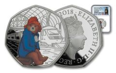 2018 Great Britain 50 Pence 8-Gram Silver Paddington at Paddington Station NGC Gem Proof First Releases