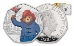 2018 Great Britain 50 Pence 8-Gram Silver Paddington at Buckingham Palace Proof