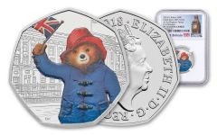2018 Great Britain 50 Pence 8-Gram Silver Paddington at Buckingham Palace NGC PF70UC First Releases