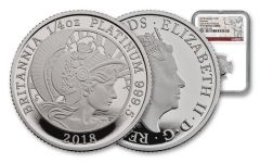 2018 Great Britain 25 Pound 1/4 Ounce Platinum Britannia NGC PF70UC First Strike