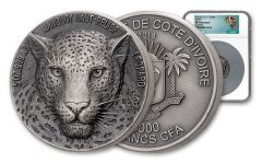 2018 Ivory Coast 5000 Francs 5 Ounce Silver Leopard High Relief Antiqued NGC MS70 - Africa Map Label