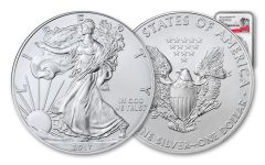 2017-(P) 1 Dollar 1 Ounce Silver Eagle Struck at Philadelphia NGC MS69 First Day Of Issue - 225th Anniversary Label