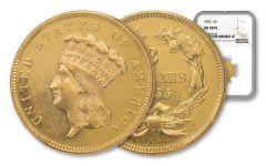 1855 $3 Gold Indian Princess NGC AU58 PL