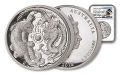 2018 Australia 2 Ounce $2 Silver Tiger and Dragon High Relief NGC PF70UC First Day Of Production