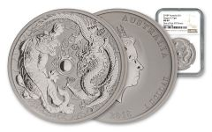 2018 Australia $1 1-oz Silver Tiger and Dragon NGC MS69 One of First 593 Struck