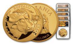 2014-2018 Tanzania 5 Piece 1-Ounce Gold Serengeti Big 5 Complete Set NGC PF70UC