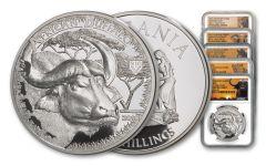 2014-2018 Tanzania 1-oz Silver Serengeti Big 5 Complete 5-Piece Set NGC PF70UC