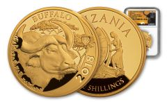 2018 Tanzania 1-oz Gold Serengeti Big 5 Buffalo NGC PF70UC