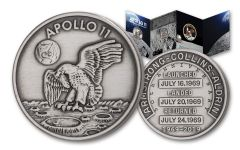 Apollo 11 Robbins Medal 1-oz Silver-Plated Copper Antiqued with Patch - 50th Anniversary Commemorative