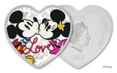 2019 Niue $2 1-oz Silver Disney Love Heart-Shaped Colorized Proof