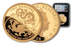 2018 Great Britain 1-oz Gold Mythical Two Dragons NGC PF70UC