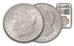 1880-S & 1887-P Morgan Silver Dollar New York Bank Hoard Treasury 2-Piece Set NGC MS66