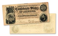 1864 $500 Stonewall Jackson Confederate Note Crisp Uncirculated