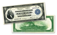 1918 $2 Federal Reserve Bank Note Battleship New York XF