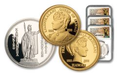 2018 Royal Hawaiian Mint Gold & Silver 3-Piece Set NGC Gem Proof Kingdom of Hawaii 125th Anniversary