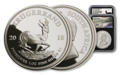 2018 South Africa 1-oz Silver Krugerrand NGC Gem Uncirculated One of First 1,000 Struck - Silver Medal Tumi Signed Label