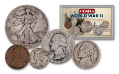 1941 1 Cent - 50 Cent World War II 5-Piece Set VG