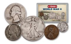 1944 1 Cent – 50 Cents World War II 5-Piece Set VG
