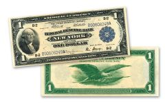 1918 $1 Federal Reserve Bank Currency Note AU