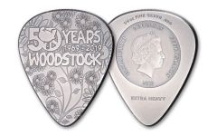 2019 Cook Islands $2 Silver Woodstock Guitar Pick Antiqued