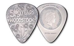 2019 Cook Islands $2 Silver Woodstock Guitar Pick Antiqued