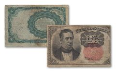 1874–1876 10 Cents Fractional Currency Note Fine